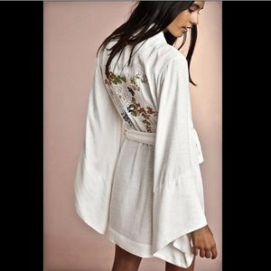 Floreat Embroidered Wrap Belted Kimono Jacket M/L